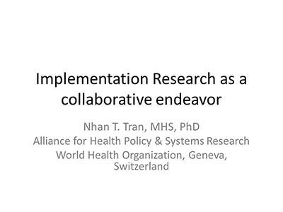 Implementation Research as a collaborative endeavor