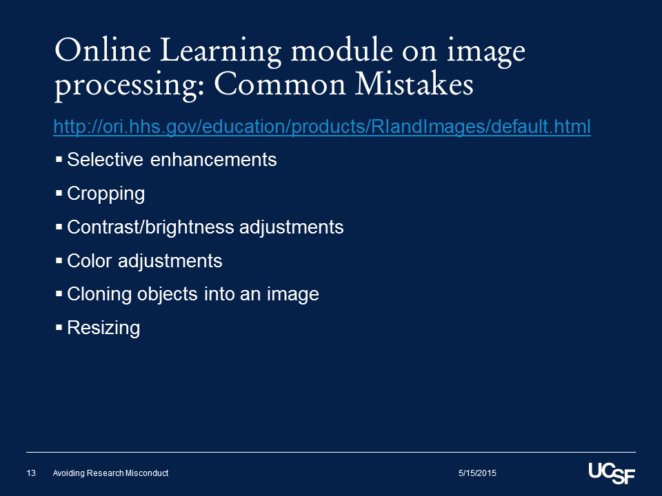 Online Learning module on image processing: Common Mistakes
