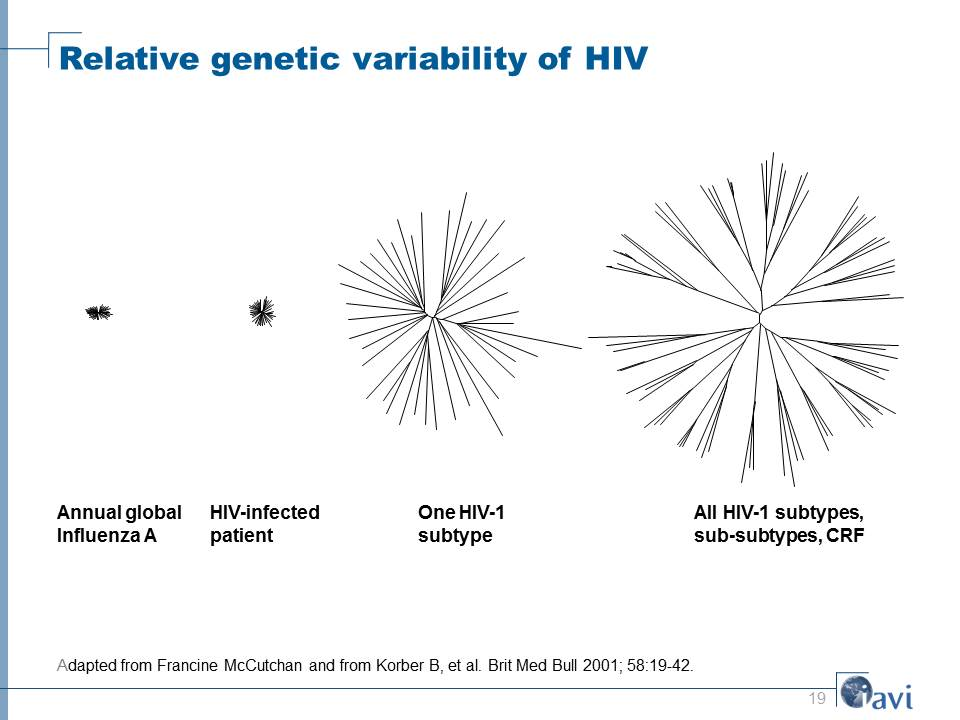 Relative genetic variability of HIV