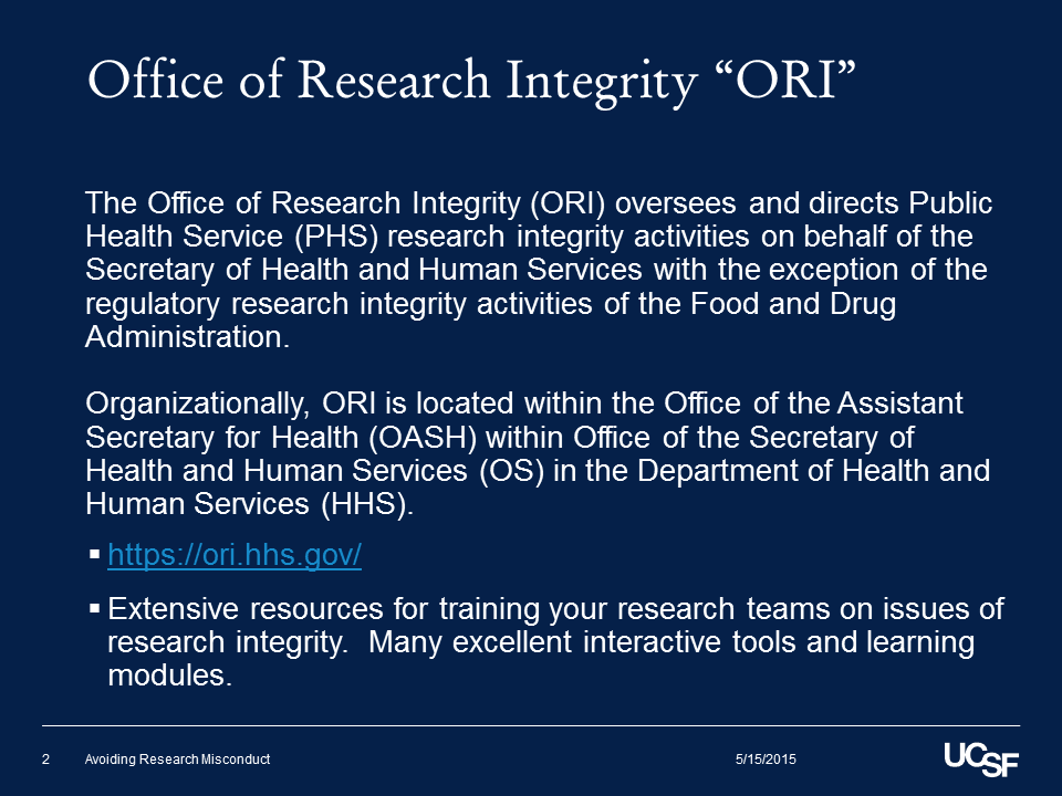 """Office of Research Integrity """"ORI"""""""