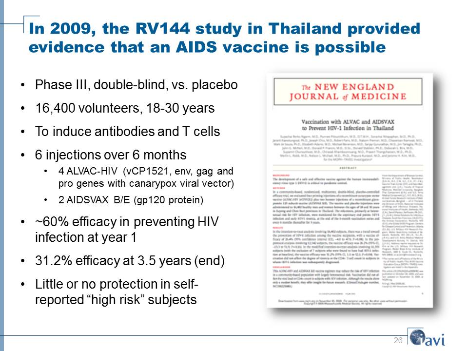 In 2009, the RV144 study in Thailand provided evidence that an AIDS vaccine is possible
