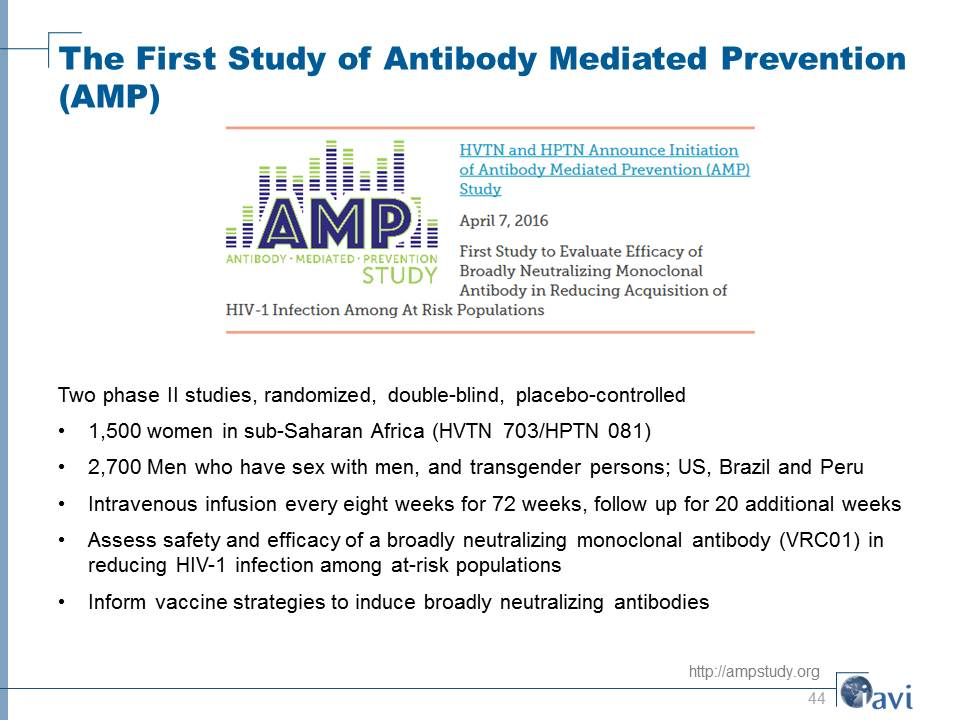 The First Study of Antibody Mediated Prevention (AMP)