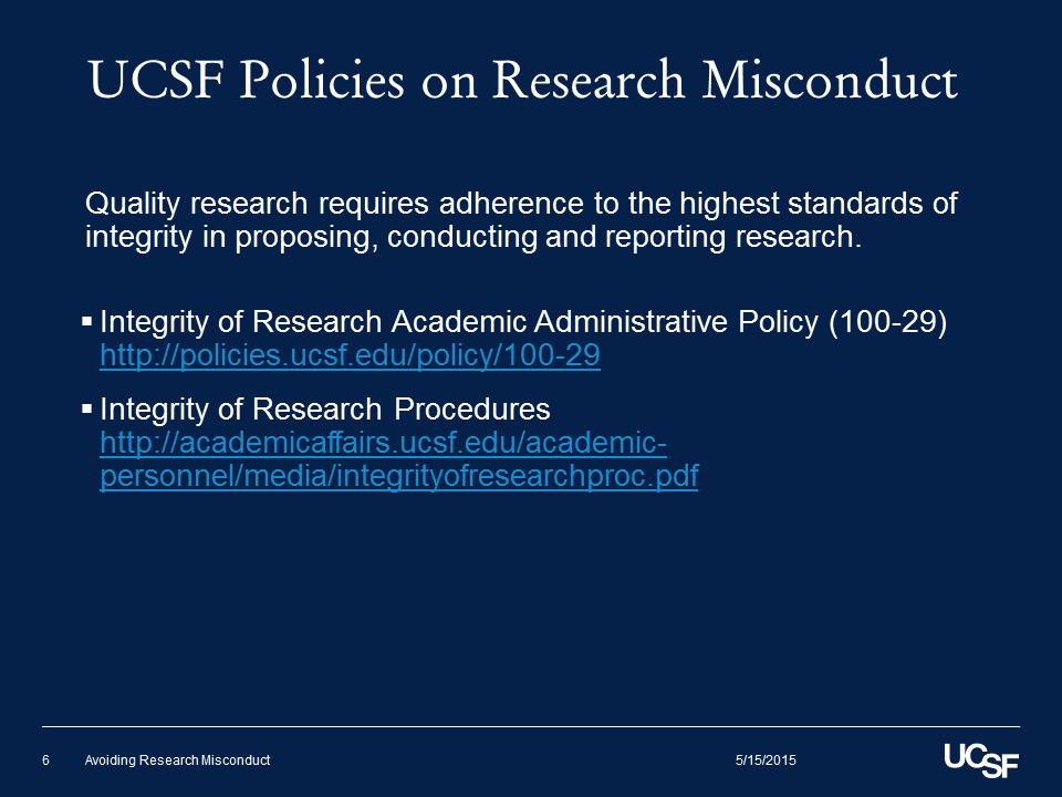 UCSF Policies on Research Misconduct