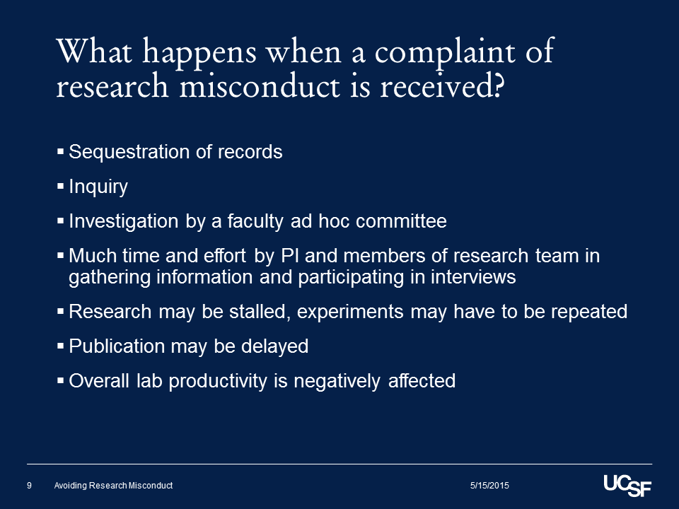 What happens when a complaint of research misconduct is received?