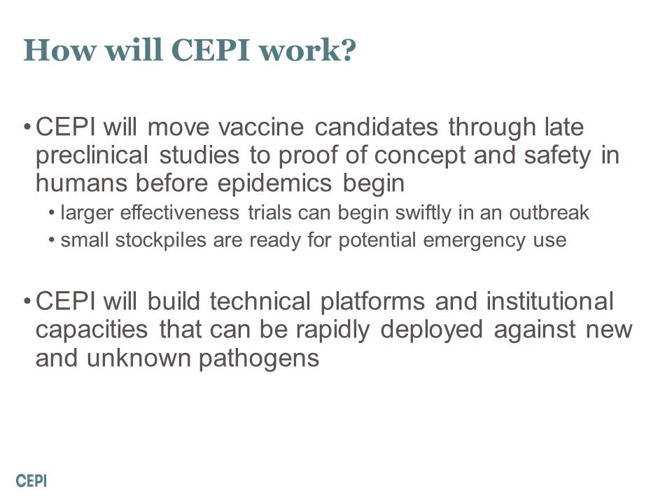 How will CEPI work?