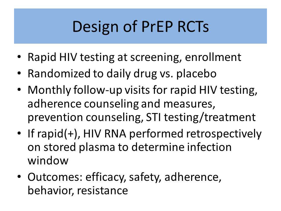 Design of PrEP RCTs