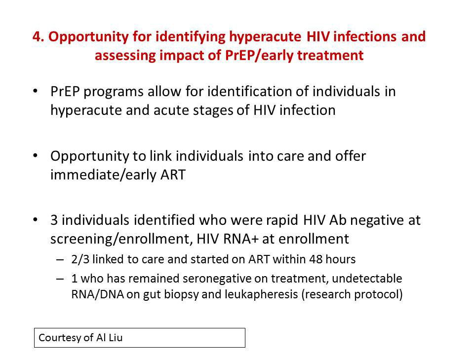 4. Opportunity for identifying hyperacute HIV infections and assessing impact of PrEP/early treatment