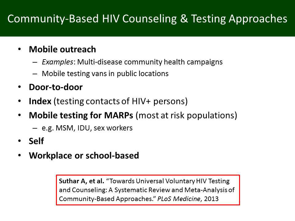 Comminity-Based HIV Counseling & Testing Approaches
