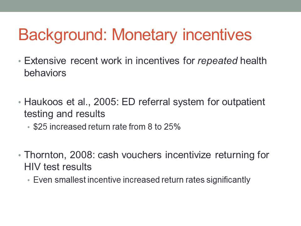 Background: Monetary incentives