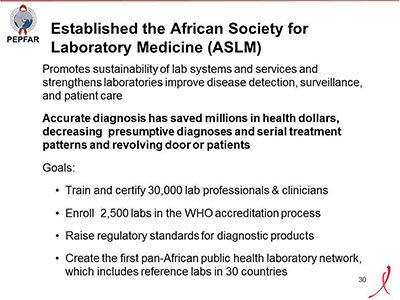 Established the African Society for Laboratory Medicine (ASLM)