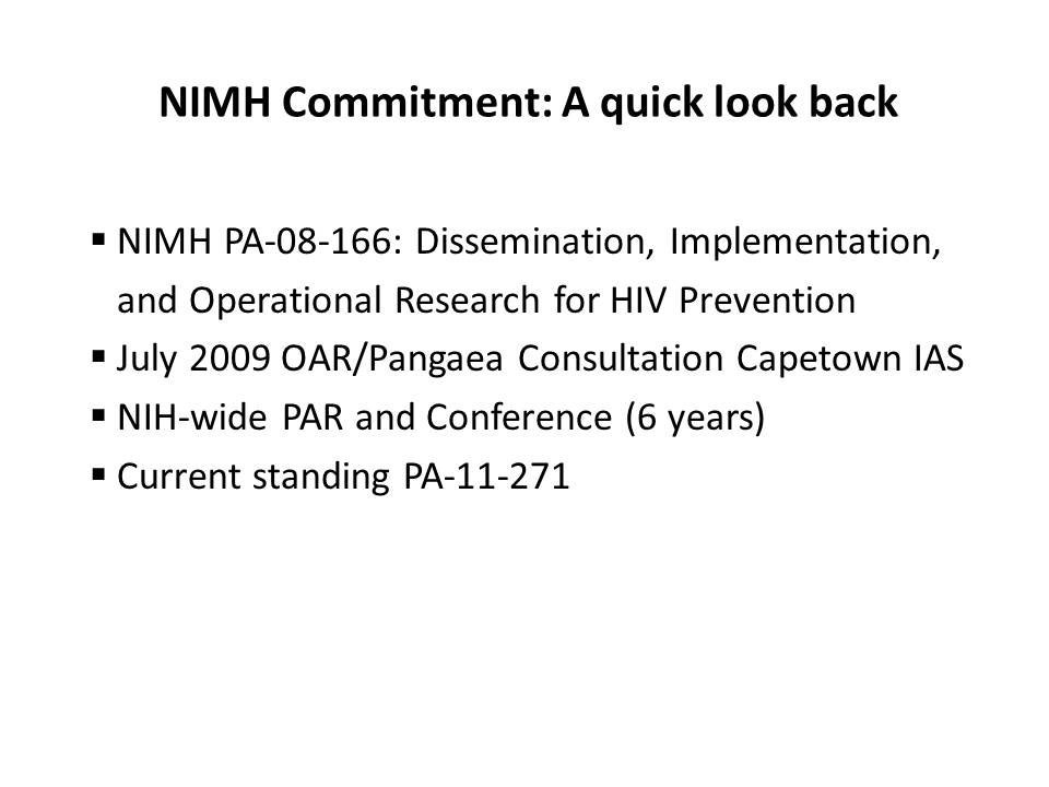 NIMH Commitment: A quick look back