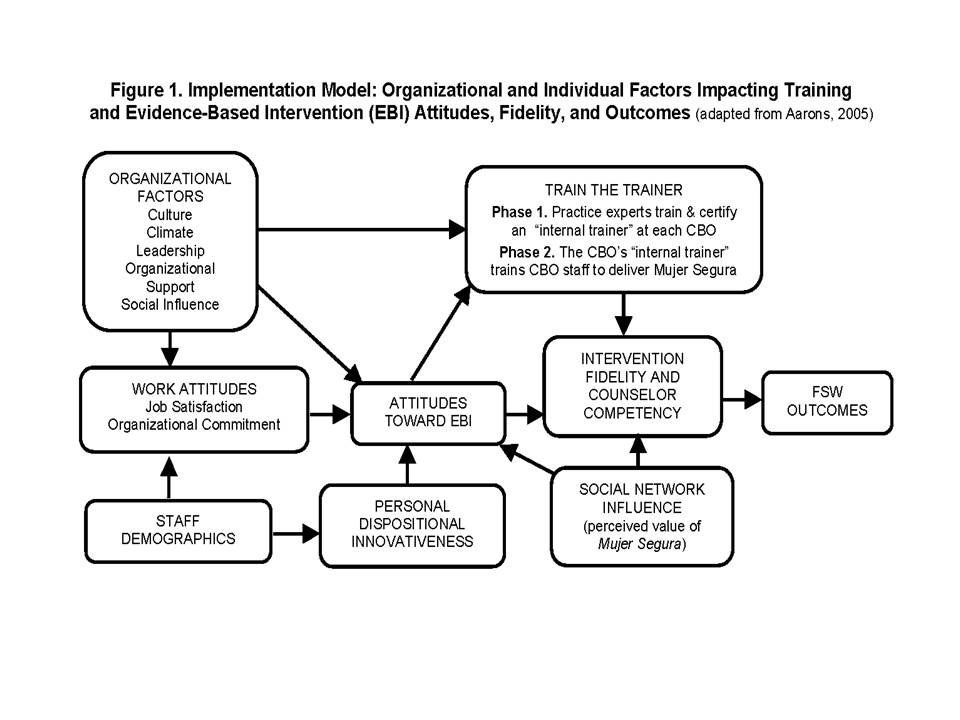 Figure 1. Implementation model: Organizational and Individual Factors Impacting Training and Evidence-Based Intervention (EBI)