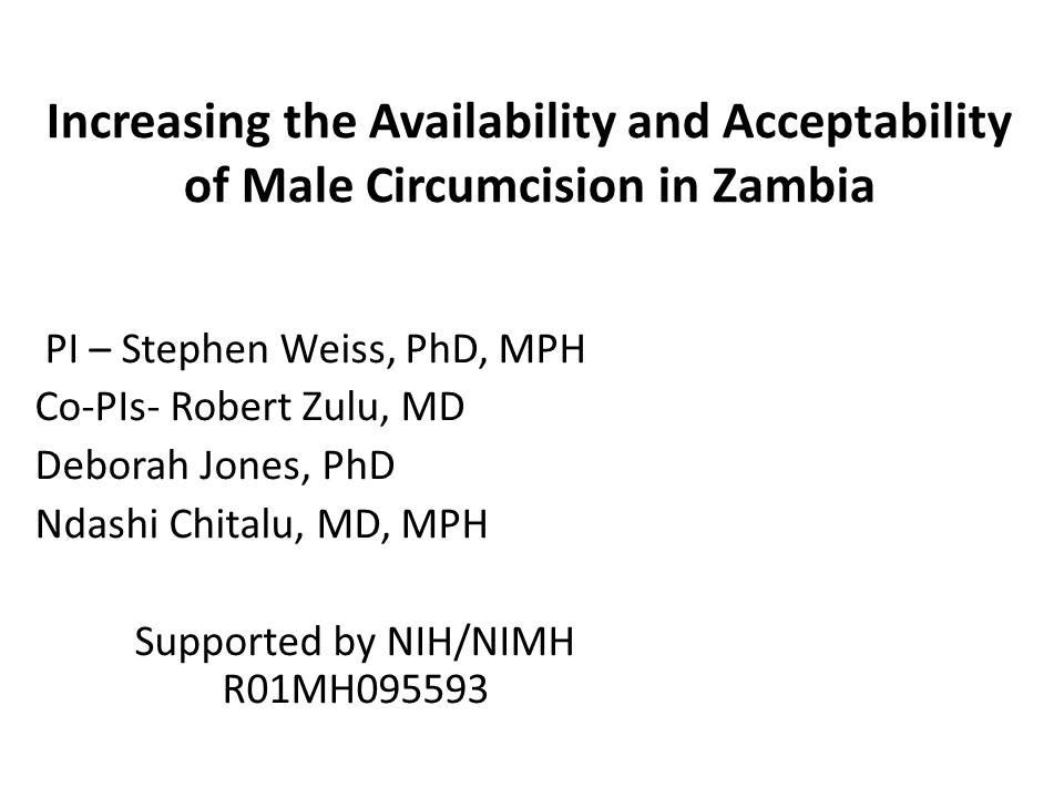 Increasing the Availability and Acceptability of Male Circumcision in Zambia