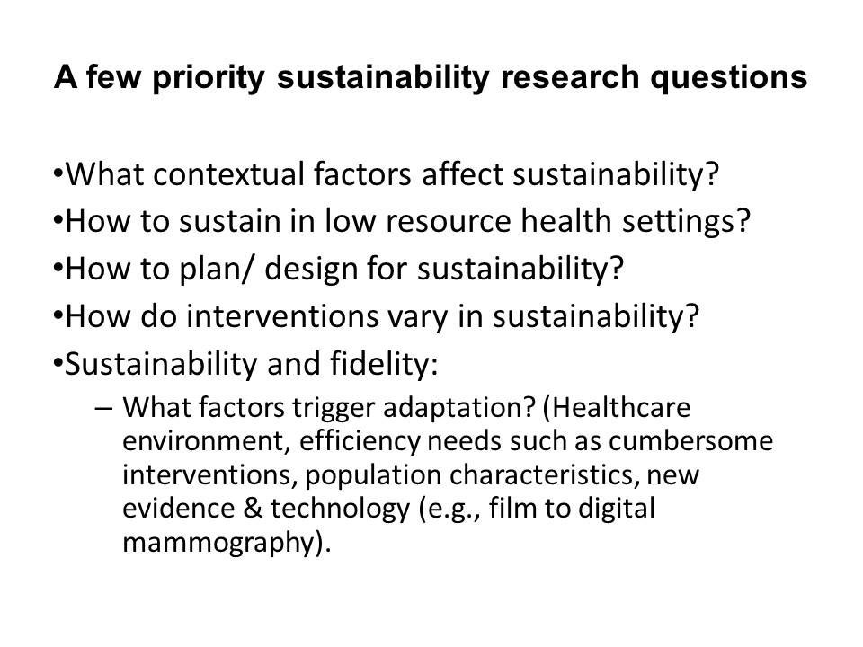 A few priority sustainability research questions