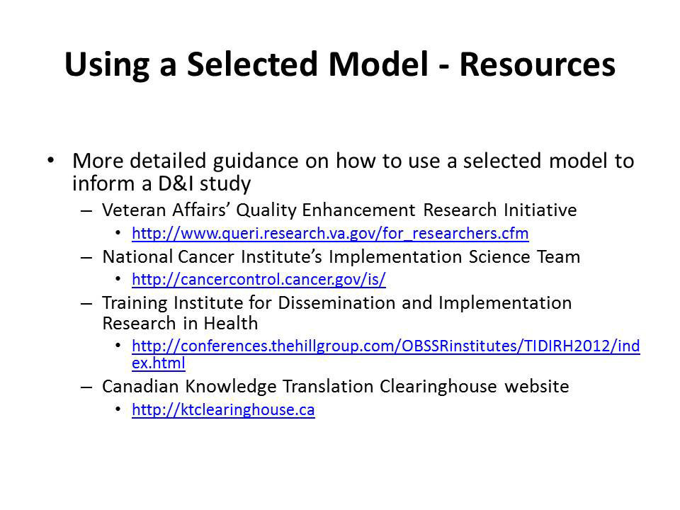 Using a Selected Model - Resources