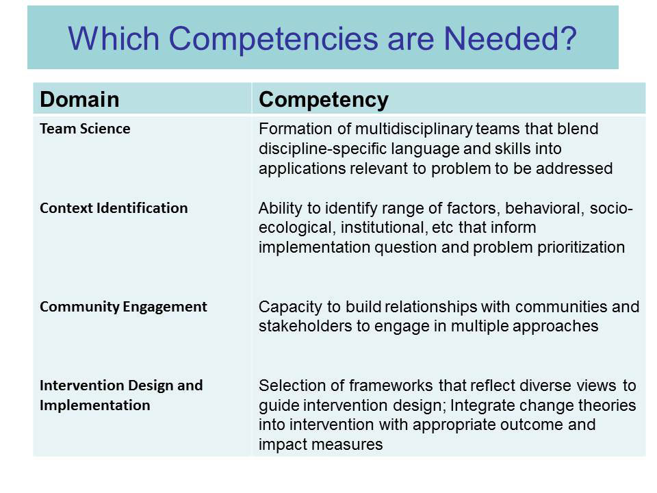 Which Competencies are Needed?