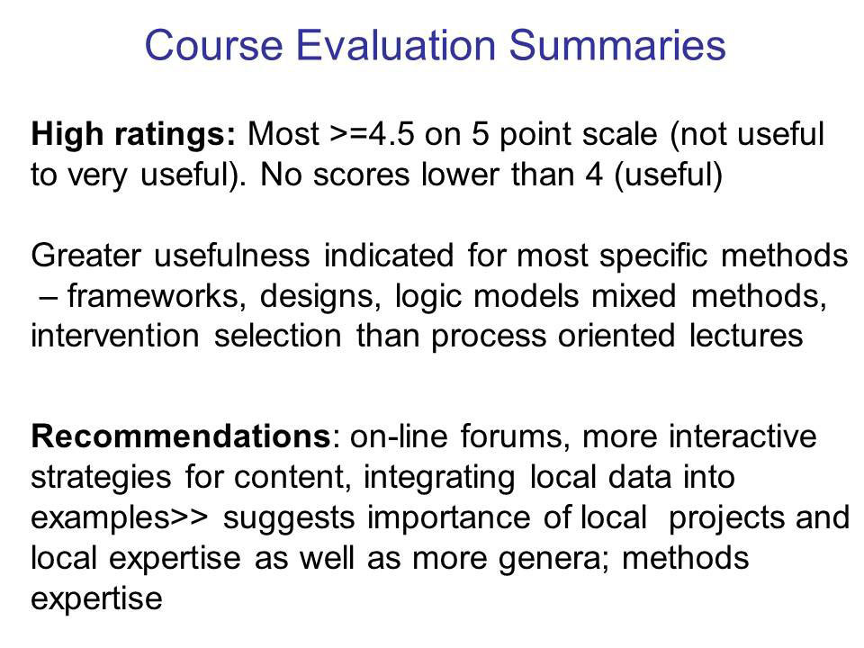 Course Evaluation Summaries