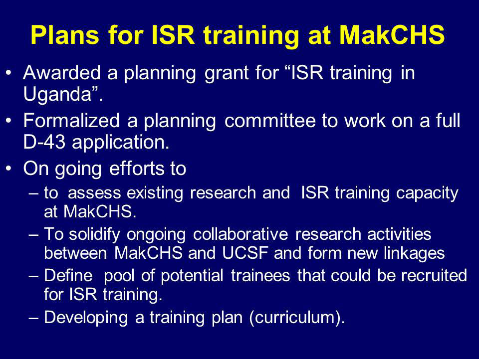 Plans for ISR training at MakCHS