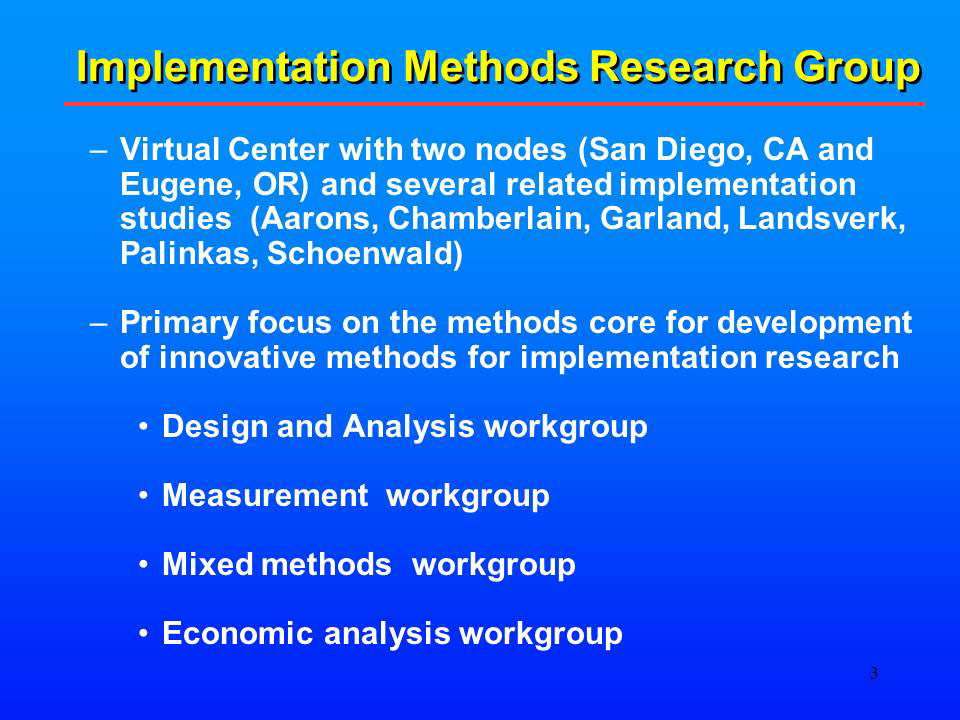 Implementation Methods Research Group