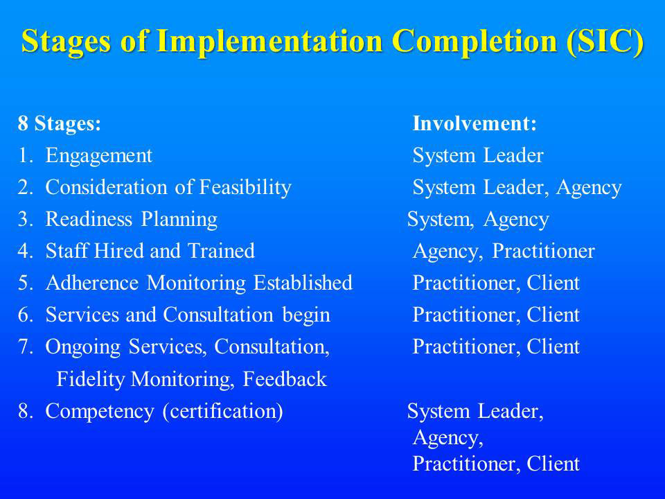 Stages of Implementation Completion (SIC)