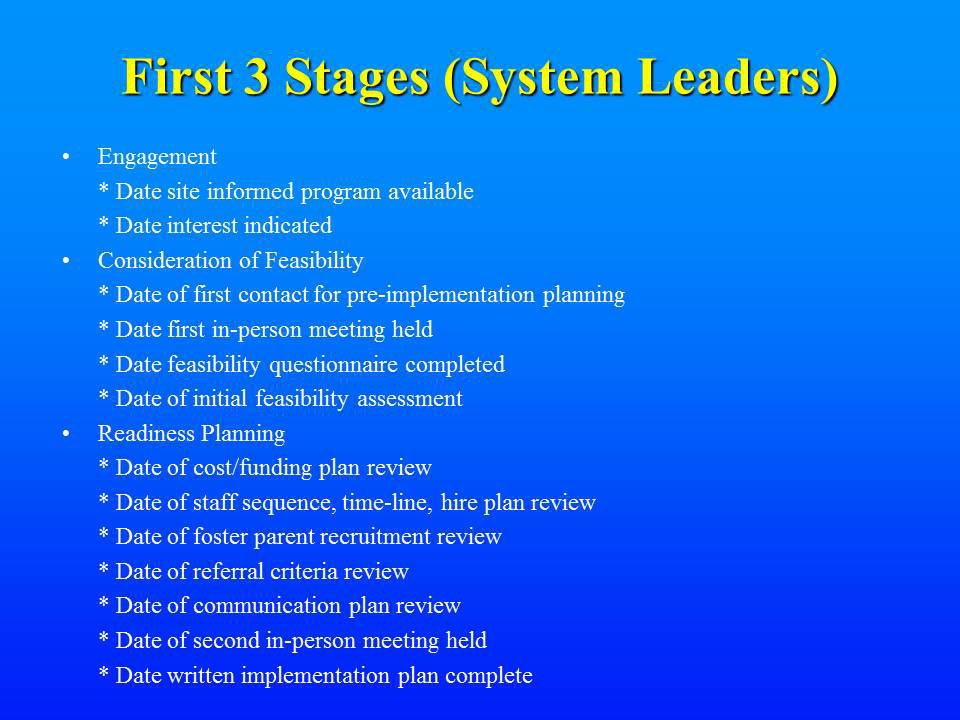 First 3 Stages (System Leader)