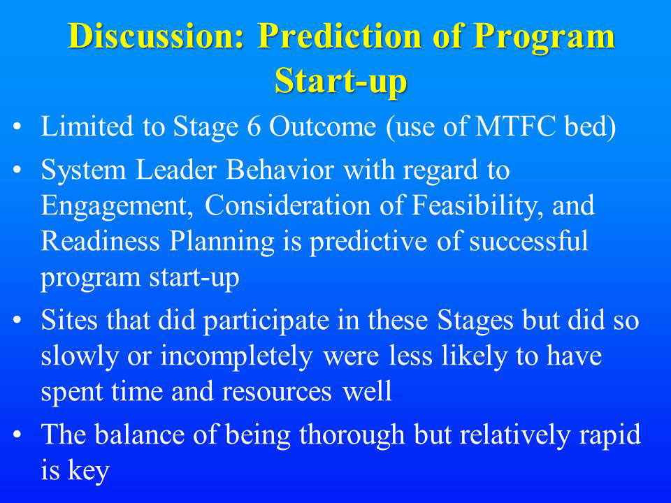 Discussion: Prediction of Program Start-up