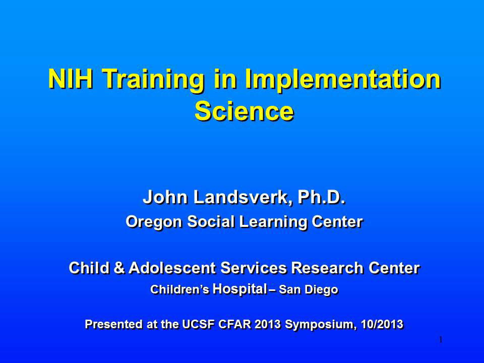 NIH Training in Implementation Science