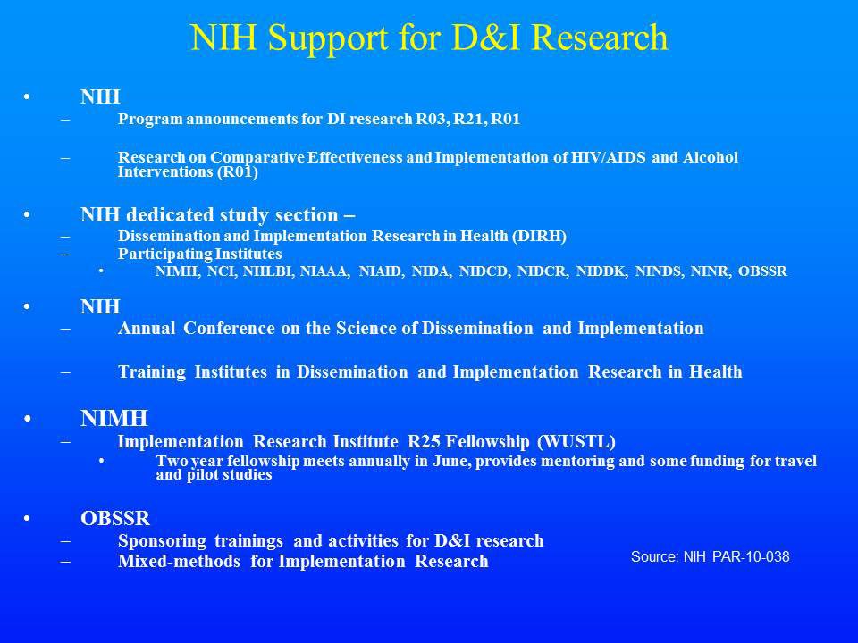 NIH Support for D&I Research