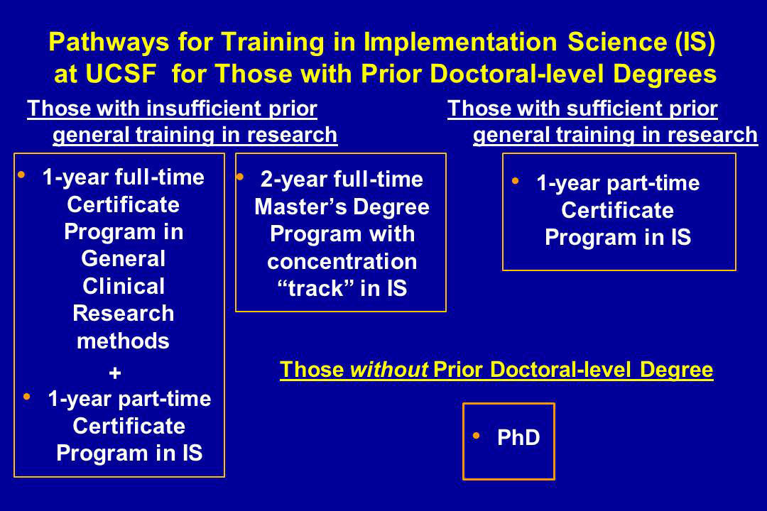 Pathways for Training in Implementation Science (IS) at UCSF for Those with Prior Doctoral-level Degrees