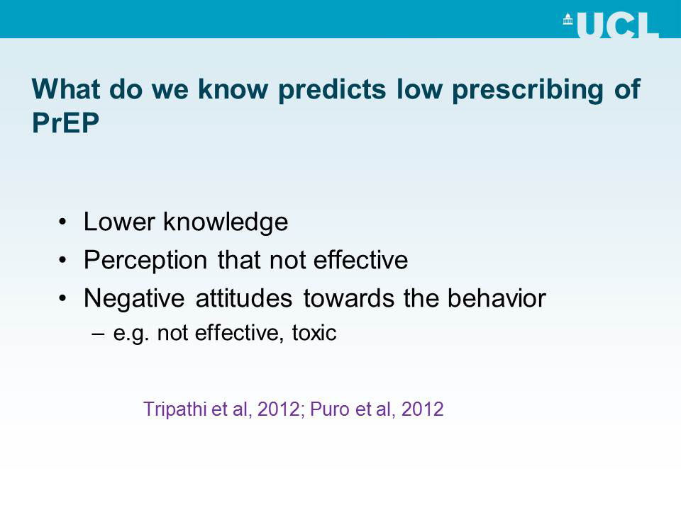 What do we know predicts low prescribing of PrEP