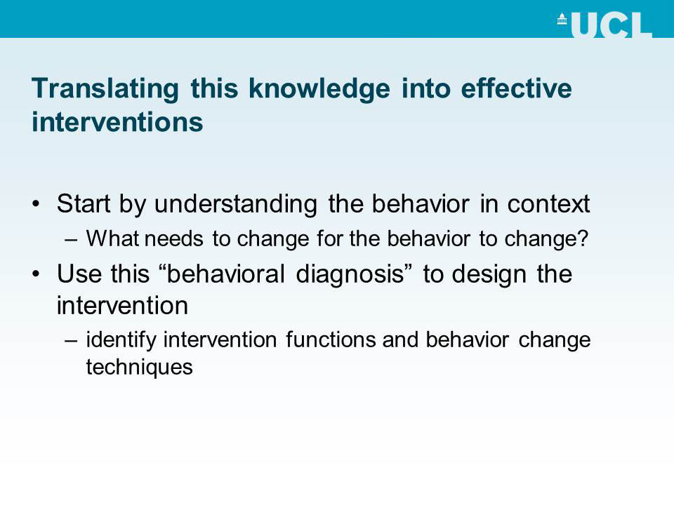 Translating this knowledge into effective interventions
