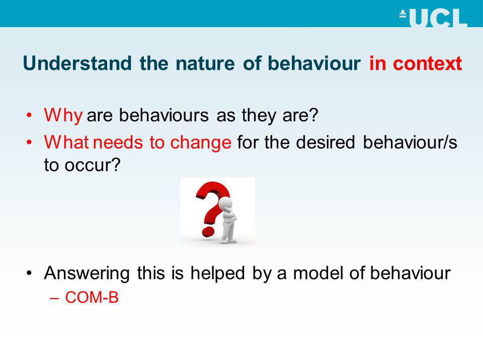 Understand the nature of behaviour in context
