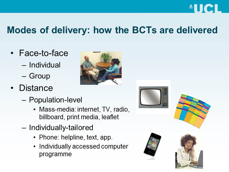 Modes of delivery: How the BCTs are delivered