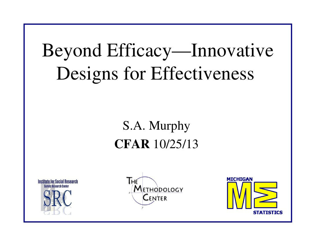Beyond Efficacy—Innovative Designs for Effectiveness