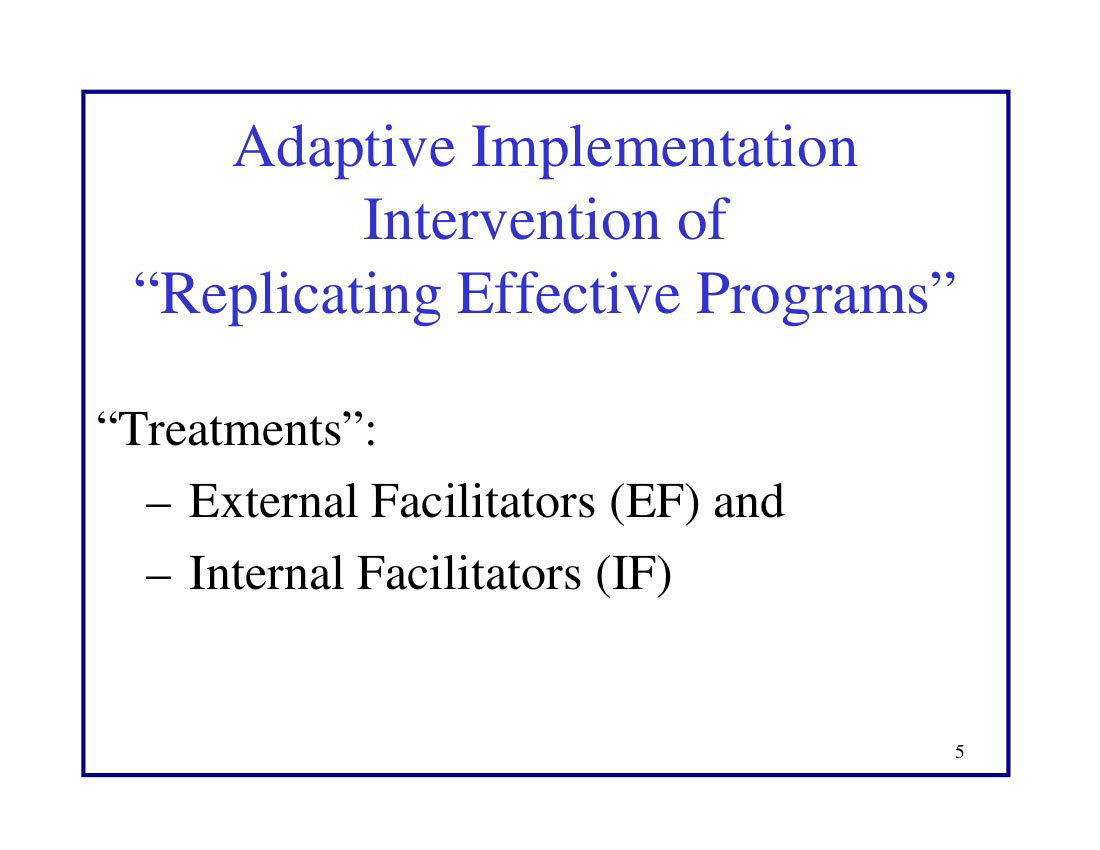 "Adaptive Implementation Intervention of ""Replicating Effective Programs"