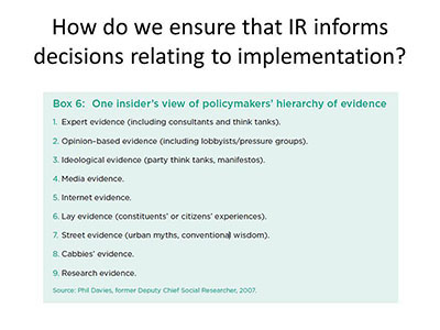 How do we ensure that IR informs decisions relating to implementation?