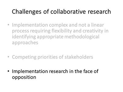 Challenges of collaborative reserach